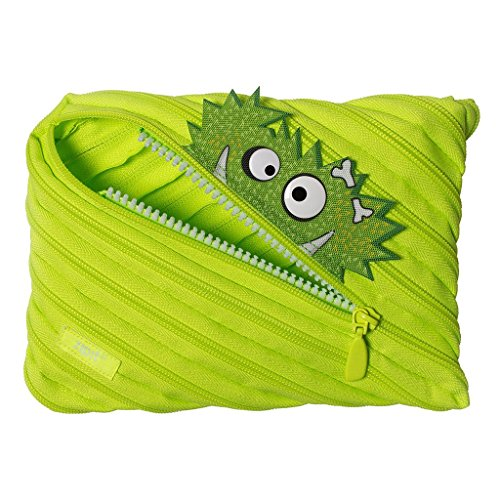 ZIPIT Talking Monstar Large Pencil Case, Holds Up to 60 Pens, Made of One Long Zipper! (Lime)