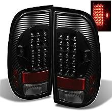 For 97-03 Ford F150 99-07 F250/350/450/550 Superduty Pickup Truck Styleside Model Black LED Tail Lights Brake Lamps