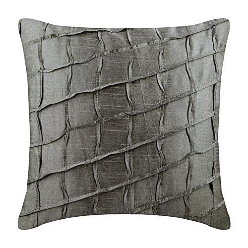 The HomeCentric Luxury Silver Couch Pillow Cases 16x16 inch (40x40 cm), Silk Designer Fabric Pillow Covers, Solid Color, Pintucks, Textured, Checkered, Modern Throw Pillow Covers - Silver is Best
