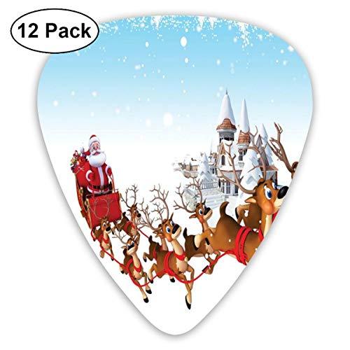 Gitaar Picks12 stks Plectrum (0.46mm-0.96mm), Kerstrit Op Een Sleigh Cartoon Herten Met Jingle Klokken Wintertijd, Voor Uw Gitaar of Ukulele