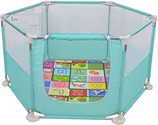 LXDDP Playpen Toddlers Playpen with Mattress  Portable Baby Playard with Door  Child Room Divider Play Pen  Green Kids Play Game Fence  Size 140 73cm