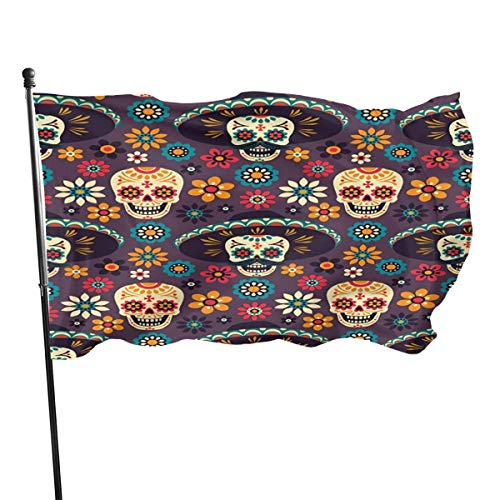 Garten-Flagge, Patry-Flagge, Flagge im Freien, Mexico Skull Hat Flags Durable Heavyweight House Flag Fade Resistant Outdoor Banner Yard Holiday and Seasonal Decorative Flags 2020-3X 5 Ft