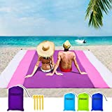Beach Blanket Sandfree and Waterproof, Extra Large Oversized 10'X9' Outdoor Family Beach Mat for 7 Adults, Soft Quick Drying Picnic Blanket for Travel, Camping, Festival - Come with 4 Stakes and Pouch