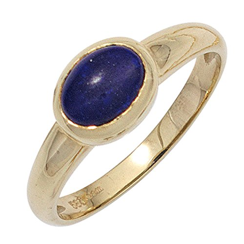 Ring Damenring mit Lapislazuli oval blau dunkelblau 585 Gold Gelbgold Goldring, Ringgröße:Innenumfang 60mm ~ Ø19.1mm