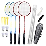 Badminton Racchette Set-4 Persona Badminton Set Con Netto Giardino Easy Setup Badminton Set Per Adulti Bambini Famiglia Dei Bambini