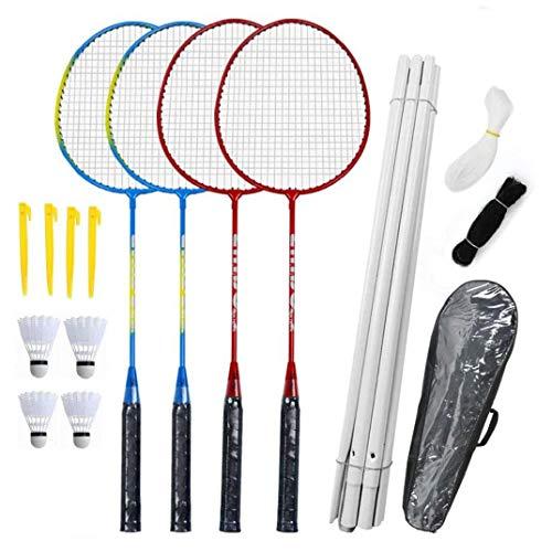 MICHAELA BLAKE Badmintonschläger Set-4 Person Badminton Set Mit Net Für Garten Easy Setup Badminton-Set Für Erwachsene Kinder Kinder Familie