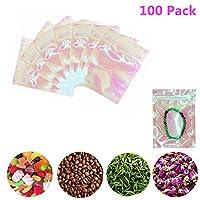 100個の再封可能なジップロックマイラーバッグ、キャンディー、ジュエリー、ネジ、ホログラフィッククリアカラー、3x4インチ用の臭い防止ポーチジップロック収納バッグ