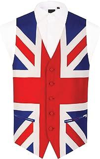Dobell Mens Union Jack Waistcoat Regular Fit 5 Button