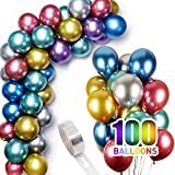 100 Pcs 12 Inch Metallic Balloons Bulk with Balloon Arch Garland Kit Strip, Latex Chrome Birthday Helium Balloons Christmas Halloween Party Decorations
