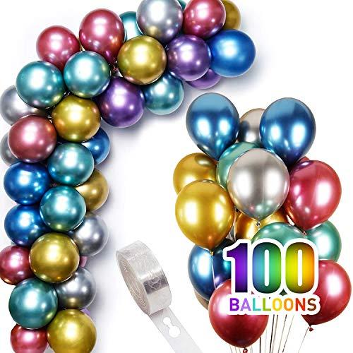 COVDE Luftballons Metallic Look 100 Stück Bunt Großpackung Geburtstag, Helium Ballons Hochzeit Dekoration Luftballon mit Balloon Arch Kit Strip 1 Rolle