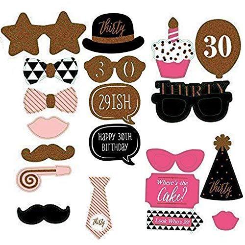 WedDecor Lot de 20 accessoires amusants pour fête d'anniversaire 30 ans Moustache, cravates, chapeau à pompon, lèvres pour photographie d'anniversaire