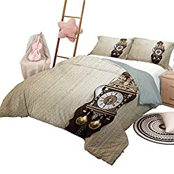 Clock Hotel Luxury Bed Sets an Antique Style Wood Carving Clock with Roman Numerals Hanging on The Wall Design Toddler Bedding Sets Brown and Tan with 2 Pillow Shams, King Size