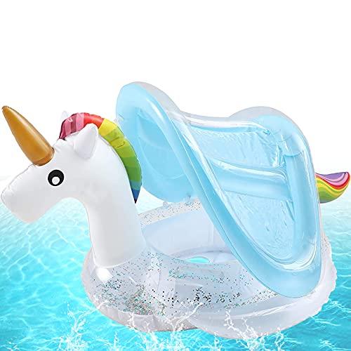 Baby Schwimmhilfe,Baby Pool Schwimmring,Aufblasbarer Schwimmreifen für Kinder,Baby schwimmring mit Sonnenschutz,Schwimmreifen für Babys,Baby Schwimmring Aufblasbarer (Weiß Einhorn