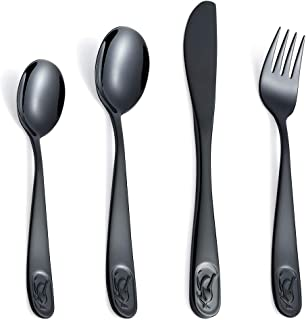 Kids Silverware Children's Flatware Cutlery Set 12-Piece 18/10 Stainless Steel Toddler Eating Utensils Child Self Feeding Spoons Forks Knives Small Spoons Mirror Polished (Engraved Animal) Black