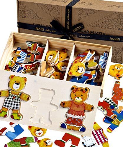 Jaques Von London Bärenfamilie holzpuzzle – Perfekt holzspielzeug 2 3 4 Jahre - mischen und Anpassenverkleiden Sich Spielzeug ab 1 2 3 Jahr
