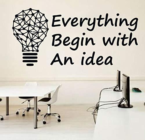 Idée De Bureau Autocollant Inspirer Bureau D'Affaires Décoration Géométrique Ampoule Motivation Vinyle Autocollants Mural 91X42 Cm