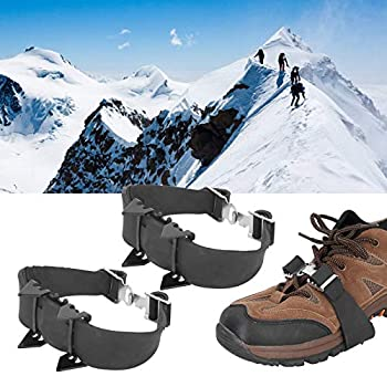 Crampons de pointes de chaussures noires, crampons de crampons de crampons de glace de traction à 4 dents, chaussures d'extérieur adaptées aux chaussures de taille 35-64 pour l'alpinisme, l'escalade