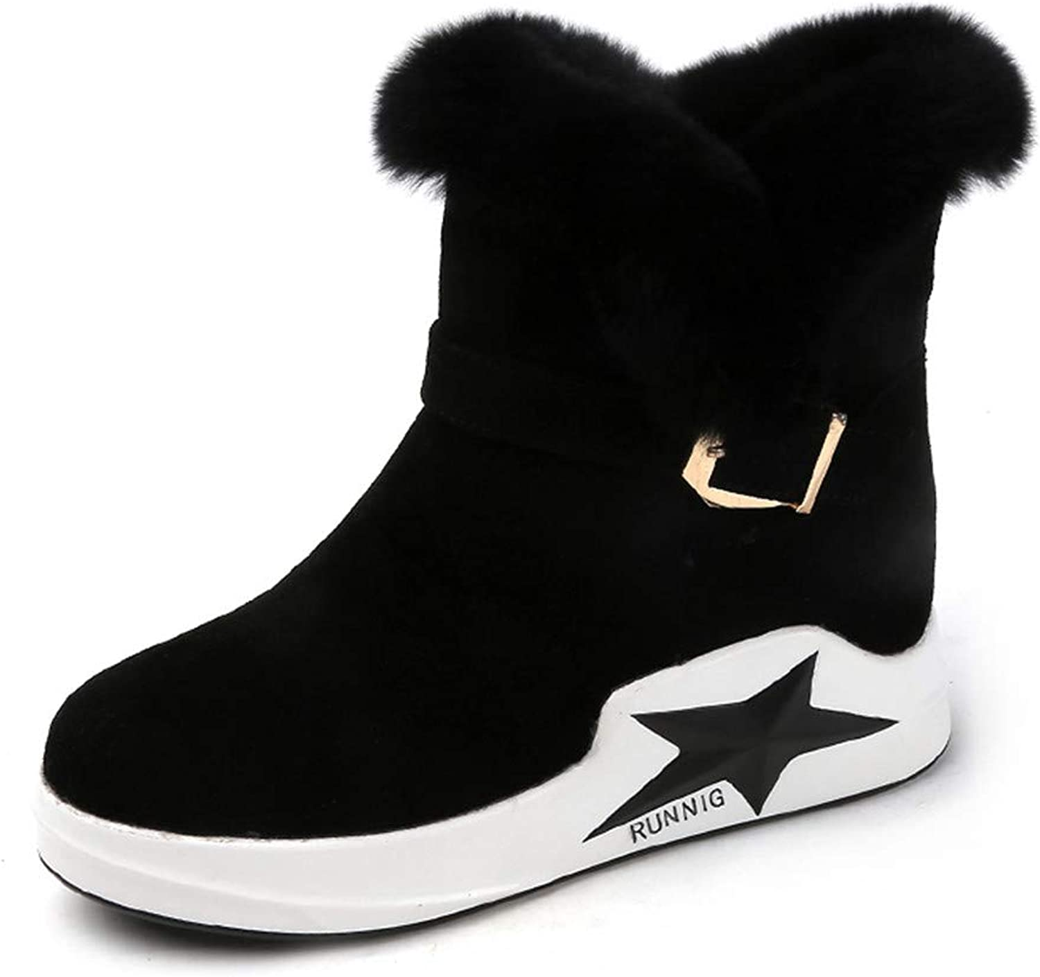 R-Anketsy Thick Fur Suede Platform Snow Boots Comfortable Flat Heels Plush Warm Winter shoes Short Booties