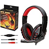 Yolispa Gaming Headset with MIC Stereo Surround PC On Ear Headphones with Microphone Wired for Computer Laptop