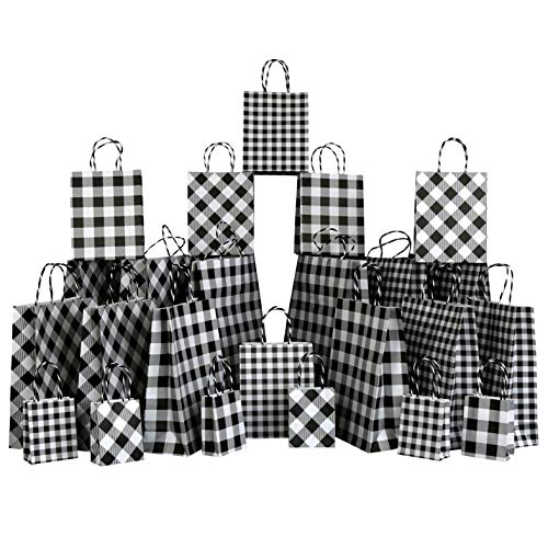 Iconikal Gift Bags, White Buffalo Plaid, 24-Piece Set