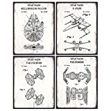Original Star Wars Patent Prints Poster Set - Wall Art for Boys Bedroom, Kids Room, Home, Apartment - Rustic Vintage Decor Faux Wood Sign Plaque Pictures - Gift for Men, Guys, Women, Teens