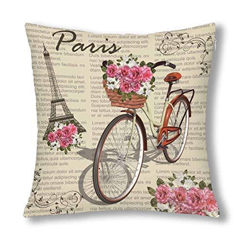 París Torre Eiffel Vintage Póster de Bicicleta, decoración de periódicos, Funda de Almohada, Fundas de cojín, Protector Decorativo de Funda de Almohada con Cremallera, 18 x 18 Pulgadas