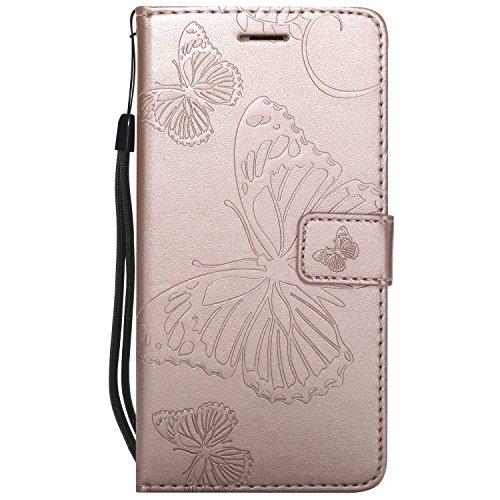 DENDICO Cover Huawei P9 Lite, Pelle Portafoglio Custodia per Huawei P9 Lite Custodia a Libro con Funzione di appoggio e Porta Carte di cRossoito - Oro Rosa