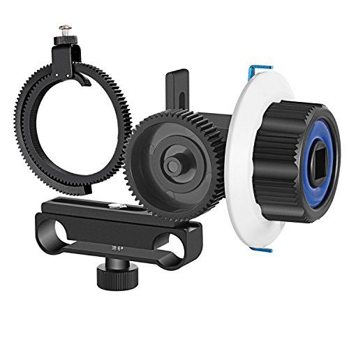 Neewer Follow Focus with Gear Ring Belt for Canon Nikon Sony and Other DSLR Camera Camcorder DV Video Fits 15mm Rod Film Making System,Shoulder Support,Stabilizer,Movie Rig(Blue+Black)