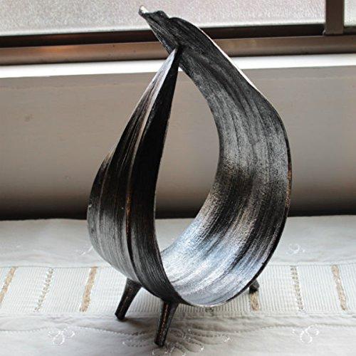 リーフトレイ ココナッツ 椰子の葉 シルバー&ブラック サークル型 ナチュラル アジアン雑貨 バリインテリア 置物 オブジェ バリ雑貨