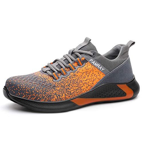 Zapatos de Seguridad Hombre Puntera de Acero Zapatillas de Trabajo Ligeros Naranja 45 EU