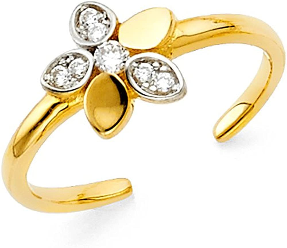 FB Jewels 14K Gold Flower Cubic Zirconia CZ Toe Ring One Size Fits All Adjustable
