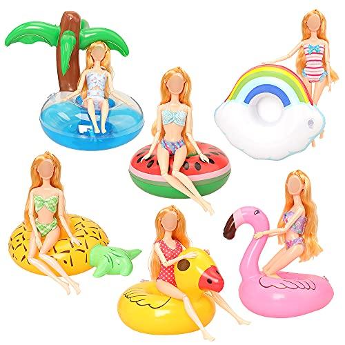 Miunana 6 nadmuchiwanych kółek do pływania, akcesoria dla lalek 30 cm