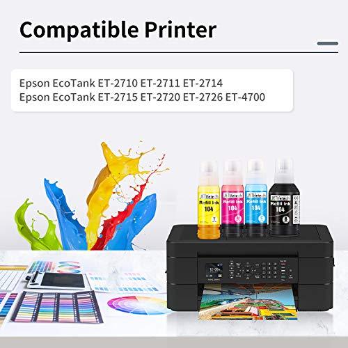 JETlifetech 104 Ecotank Tinta Reemplazo para Epson 104 Cartuchos de tinta Compatible con Epson EcoTank ET-2710 ET-2711 ET-2712 ET-2714 ET-2715 ET-2720 ET-2726 ET-4700, ET-2710 Unlimited