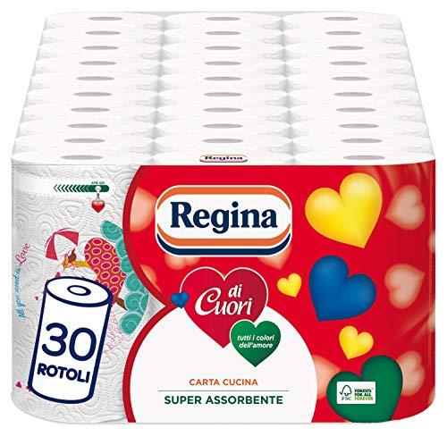 Regina di Cuori Carta Cucina | Confezione da 30 Rotoli | 50 fogli per rotolo* | Grande Assorbenza, Spessa e Resistente | Carta 100% certificata FSC®
