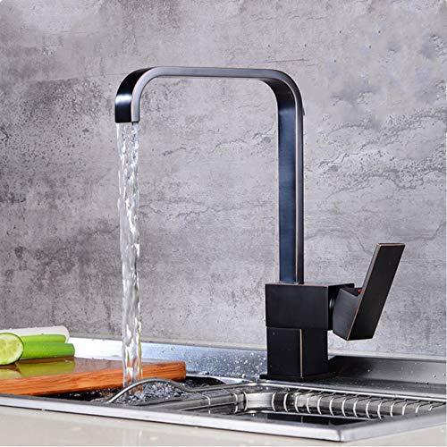 LLLYZZ Biggers America Style koperen keukenkraan vierkant draaibare bronzen eengreepsmengkraan met bronzen afwerking voor koud warm water