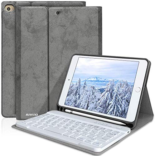 Keyboard Case for iPad Mini 5th Generation -iPad Mini 4 with Pencil Holder Removable Wireless Bluetooth Keyboard, Case with Keyboard for 7.9 inch iPad Mini 5th Gen 2019 / Mini 4 2015(Grey)
