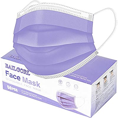 Amazon - Save 40%: Face Mask Purple, Disposable Face Masks, 3 Layer Design Protection B…