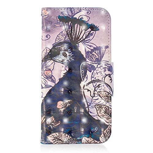Xiaomi Pocophone F1 Case, Bear Village 3D Creative Printed PU Leather Magnetic Flip Folio Wallet Cover with ID and Credit Card Pockets for Xiaomi Pocophone F1 (#5 Peacock)