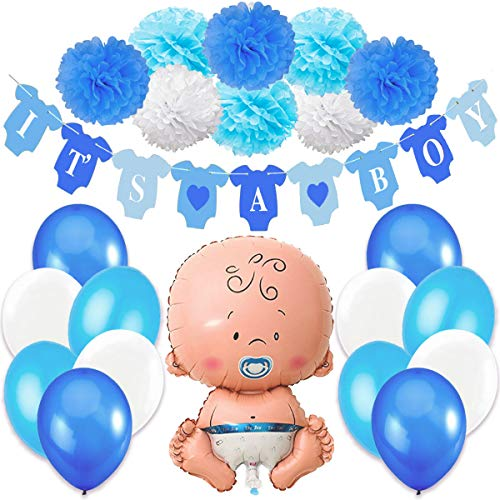 Babyparty Junge, Baby Shower Junge, Babyparty Deko - It's a Boy Blau Girlande + 1 XXL Neugeborene Folienballoon + 8 Blumenpuscheln + 12 Ballons. Dekorations Babydusche Party