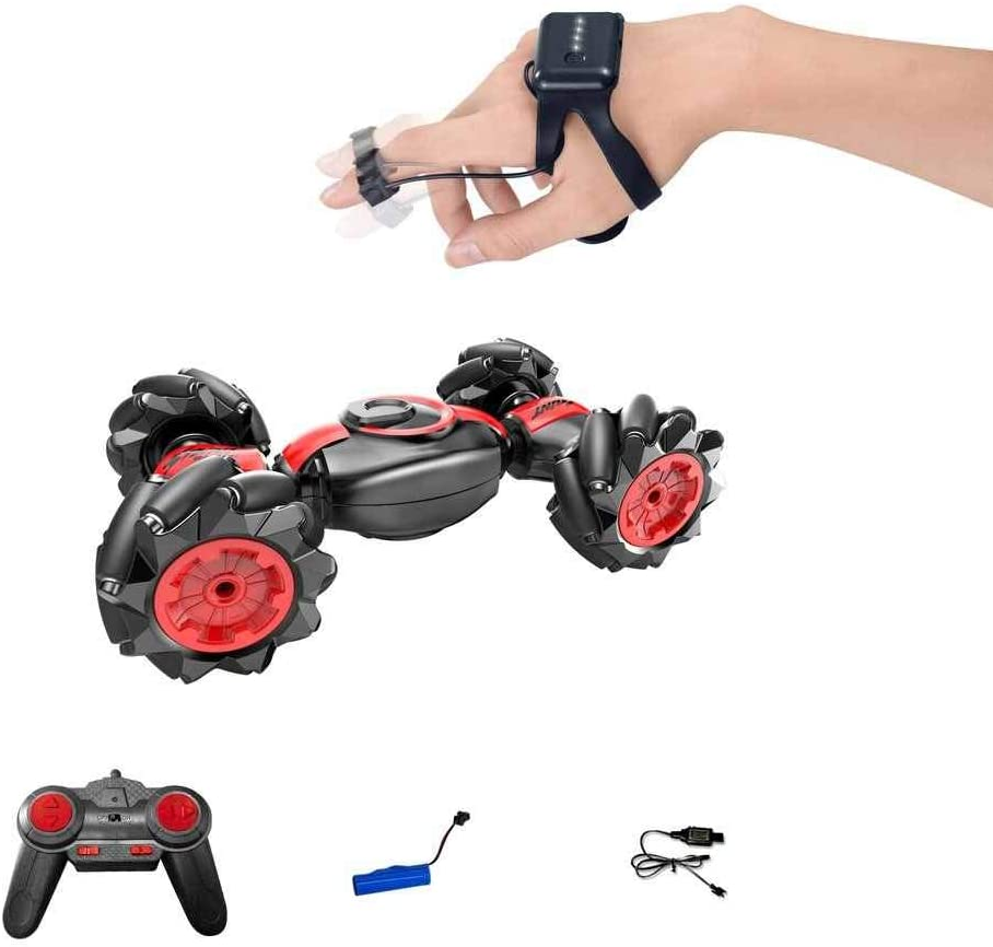 4WD Off Road RC Car Toy Drone-Clone Xperts Remote Control Stunt Truck 360/° Rotation Drift Wheels with Gesture Control Smartwatch Blue