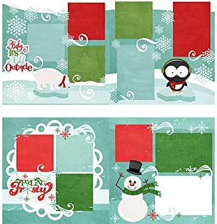 Two Printed Layouts - Baby It's Cold Outside & Feeling Frosty - 2-2 Page 12x12 Kits & Bonus: 2 Duplicate 6