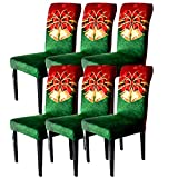BEIFIVCL Christmas Chair Covers Set of 6, Xmas Dining Chair Back Covers, Christmas Chair Slipcovers Protector Decoration, Removable and Washable, Christmas Kitchen Decor/Restaurant Party Home Decor