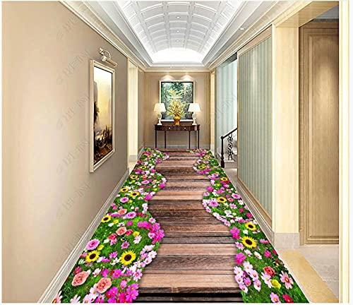 Pintura de suelo 3D Mural Foto de papel tapiz Arbustos de flores Paseo marítimo ocio Jardín familiar Sala de estar Baño PVC Azulejos impermeables Pegatinas Piso 300X210cm