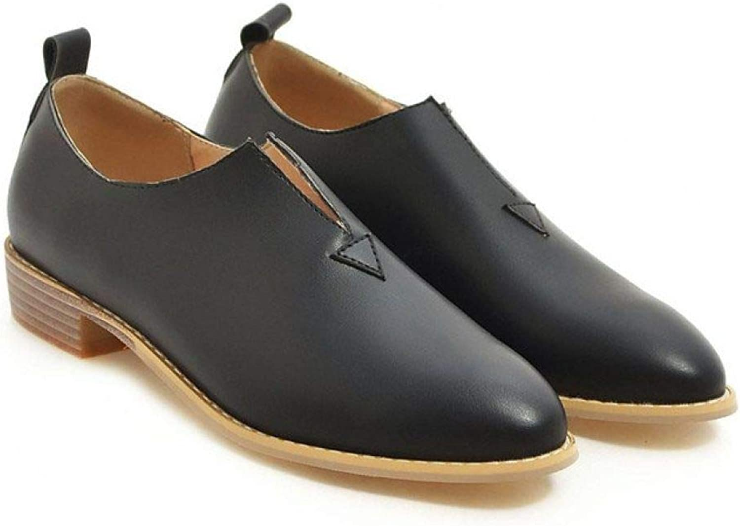 Fay Waters Women's Pointed Toe Leather Oxfords Low Heel Slip On Plain Tone Flat Classic shoes