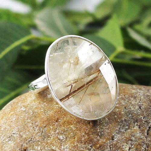 Solid 925 Sterling Silver Natural Rutile Quartz Gemstone Ring Jewelry Sz 6 CM, Valentine's Day Gift for Women, Mothers Day Gift Love Jewelry, Anelli d'argento per regalo donna