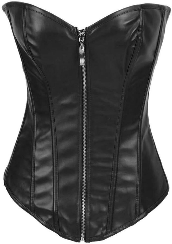 Alivila.Y Fashion Sexy Faux Leather Corset 2340A With GStringBlack ZipperXXXXL