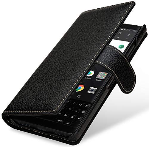 StilGut Brieftasche-Hülle für BlackBerry Key2 LE aus echtem Leder, schwarz