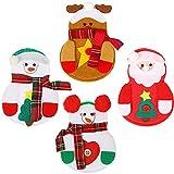 4 Piezas Bolsas de Cubiertos de Navidad Funda de Vajilla de Navidad Bolsas de Cubiertos No Tejidos Soporte de Horquilla de Muñeco de Nieve Porta Cubiertos Bolsas de Utensilios de Navidad