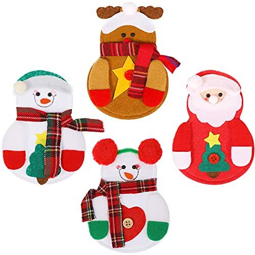 Zopeal 4 Pezzi Sacchetti di Posate di Natale Sacchetti per Posate in Tessuto Non Tessuto Porta Forchetta Pupazzo di Neve Portaposate di Natale Portaargenteria Natalizia Borse per Utensili Natalizi