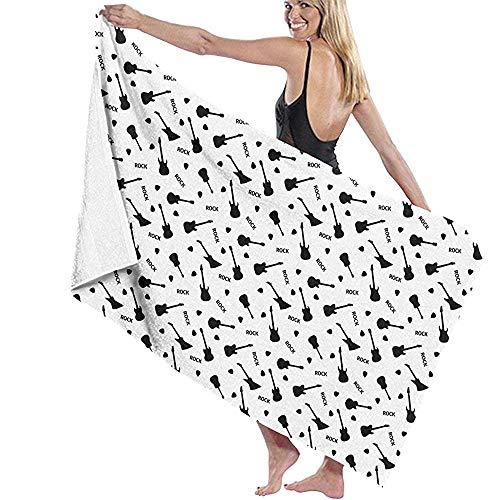 dingjiakemao Turks Handdoek Gitaren Op Een Witte Achtergrond Patroon Bad Handdoeken Extra-Absorbens 80X130Cm Lichtgewicht Hoge Absorbency Badblad Voor Strand